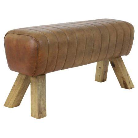 Sitzbank RAMY erinnert an eine Turnbank -Leder Braun