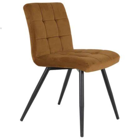 Esszimmerstuhl OLIVE Karamel Gelb, Stuhl in Karamel Gelb aus zartem Samt von der Marke Light & Living
