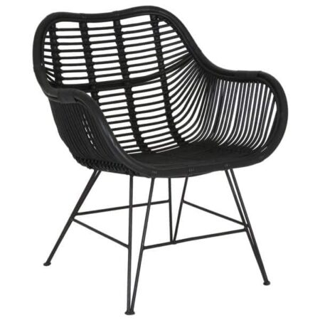 Stuhl MALANG, Sessel aus Rattan in Schwarz von Light & Living