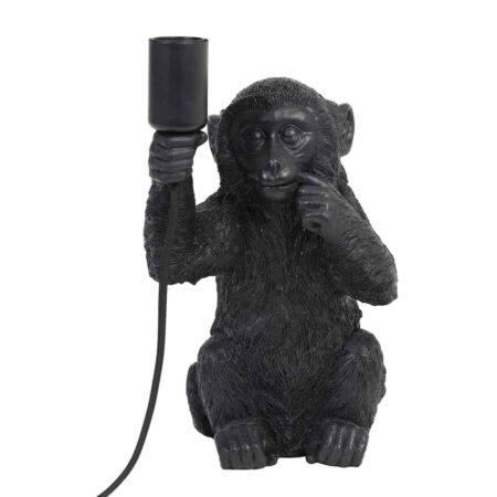 Tischlampe MONKEY, schwarze Tischleuchte als Skulptur Affe von Light & Living