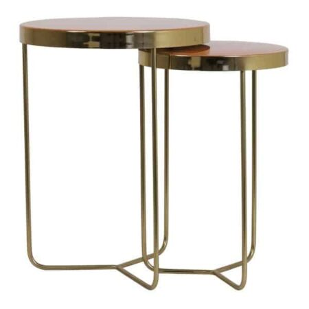 Beistelltisch CHEPU, Tisch im 2er-Set, goldenes Tischgestell mit orange Tischplatte