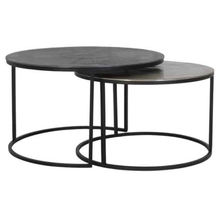 Couchtisch TALCA BLEI, im 2er-Set, Tischplatten in Blei und Lea von Light & Living