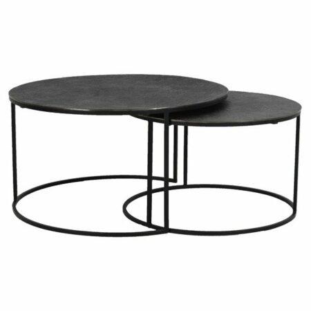 Beistelltisch 2er-Set RENGO schwarz, mit extravaganter Tischplatte mit besonderer Textur