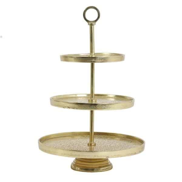 Etagere Lutek gold mit 3 Ebenen für Köstlichkeiten von Light & Living