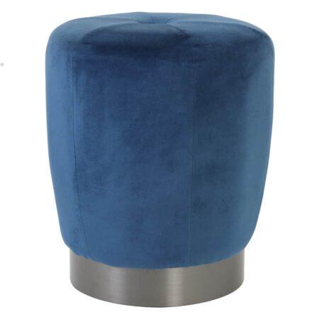 Hocker SCARLETT Blau, Sitz aus Samt von Light & Living