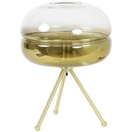 Tischlampe CHERLE, Dreifuss Leuchte aus Glas in Gold von Light & Living