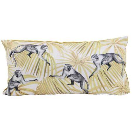 Kissen MONKEY 60x30cm, Zierkissen mit Motiv Affe in weiß und ocker von Light & Living