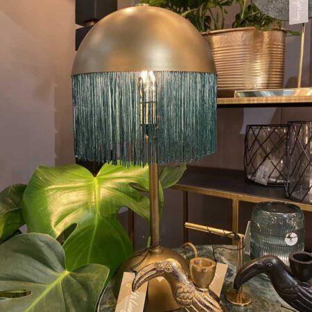 Tischlampe OIVA grün, bronzefarbene Leuchte mit grünen Fransen von Light & Living