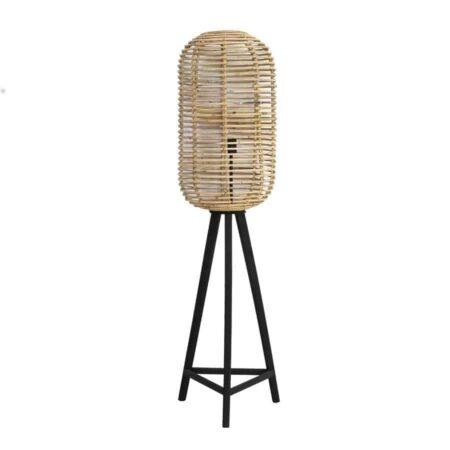 Stehlampe TABANA Rattan, Besondere Lampe als Dreifuss aus Rattan von Light & Living