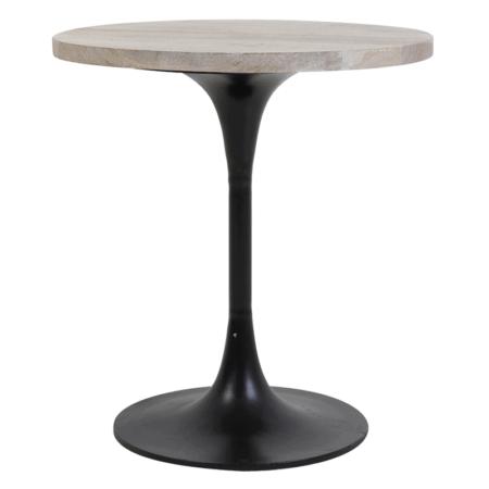 Beistelltisch BIBOCA, Akazien Holz grau-schwarz - Ø50x55 cm