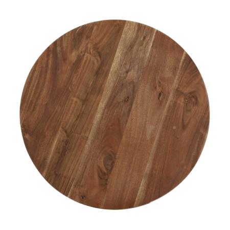 Tischplatte BIBOCA, Akazien Holz braun-schwarz - Ø50x55 cm