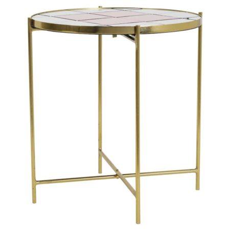 Beistelltisch LOUNA, praktischer Tisch mit bronzefarbenem Gestell und einer Tischplatte in einzelnen rosa und weissen Kacheln
