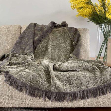 Plaid ROMA olive, Decke von der Marke CARMA aus der Kollektion Roma