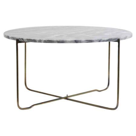 Couchtisch MARTY, Marmor Tischplatte in Grau mit Tischgestell aus Metall in antik Bronze