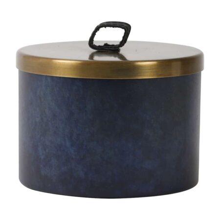Deko Box ALEGRANZO blau, dekorative Aufbewahrungsbox Ø15x11,5 cm