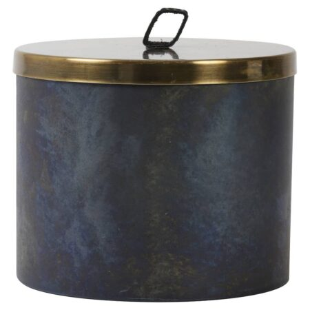 Deko Box ALEGRANZO blau, dekorative Aufbewahrungsbox Ø19,5x16 cm