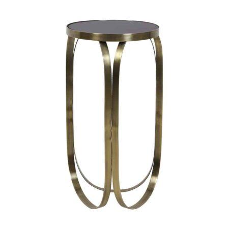 Dekosäule BUBISA, Tischplatte aus Glas in schwarz, Tischgestell in antik bronze