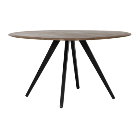 Esstisch MIMOSO 120cm, runder Esszimmertisch aus Akazien Holz und Tischbein in schwarz