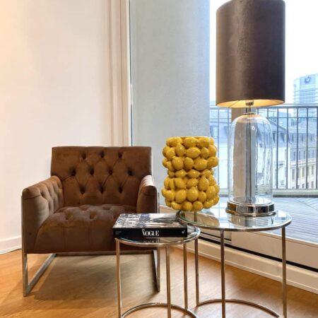 Samt Loungesessel AVALON, Cappucino-Brauner Samt-Sessel von Van Roon Living