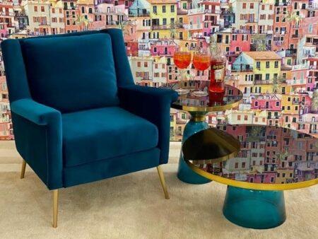 Kollektion L'atelier blau/gold - Beistelltisch und Couchtisch komplett aus Glas von Van Roon Living
