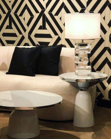 Couch- und Beistelltisch L'atelier weiss/silber - Tische komplett aus Sicherheitsglas von Van Roon Living - Luxus Interior