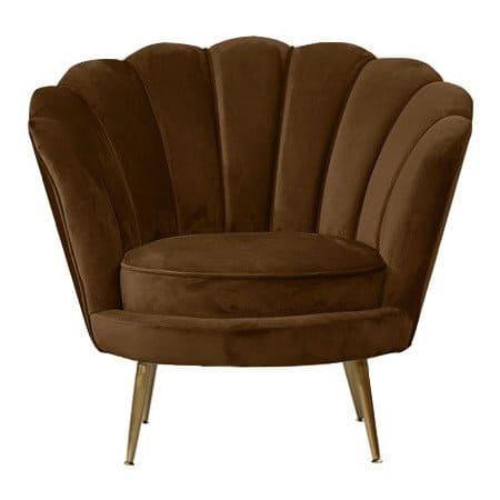 Loungesessel LOTUS Espresso Braun, gemütlicher Sessel aus Samt von Van Roon Living