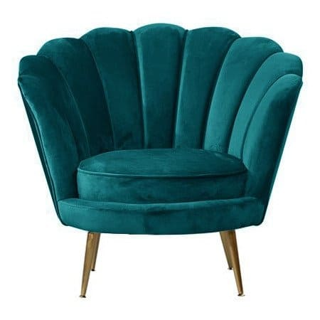 Loungesessel LOTUS Petrol, gemütlicher Sessel aus Samt von Van Roon Living