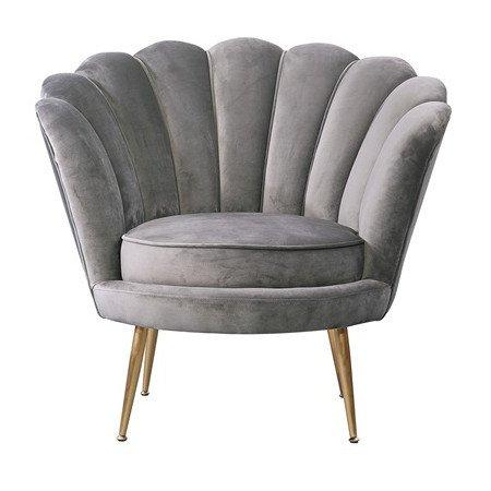 Loungesessel LOTUS Grau, gemütlicher Sessel aus Samt von Van Roon Living