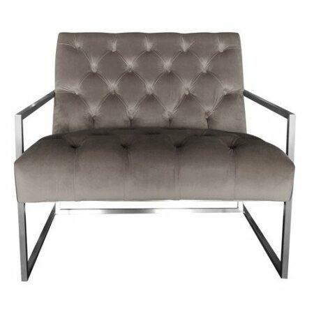 Loungesessel VELVET CLUB, Sessel aus Samt in Taupe, Gestell aus gebürstetem silber von Van Roon Living