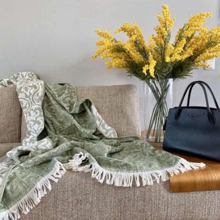 CARMA Plaid FIRENZE grün, Sommer-Decke aus Leinen von der Marke Carma