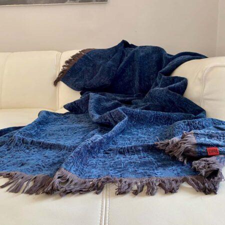 Plaid ROMA denim blau, Decke von der Marke CARMA aus der Kollektion Roma