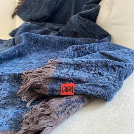 Plaid ROMA denim blau, Leinen Decke von der Marke CARMA aus der Kollektion Roma