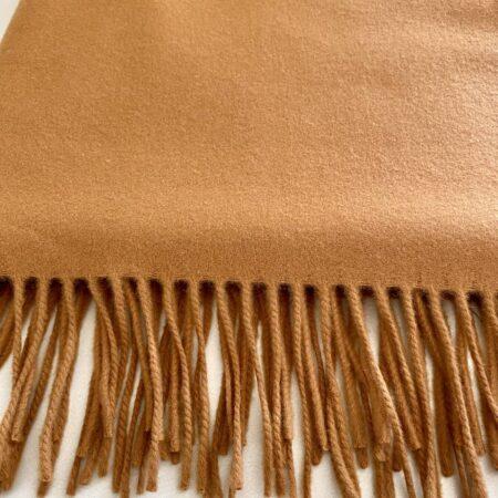 Plaid Carma UNI cognac, traumhaft schöne Decke aus Wolle und Cashmere