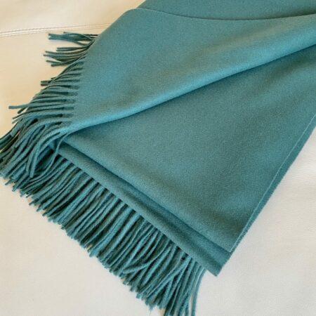 Plaid Carma UNI grün, traumhaft schöne Decke aus Wolle und Cashmere