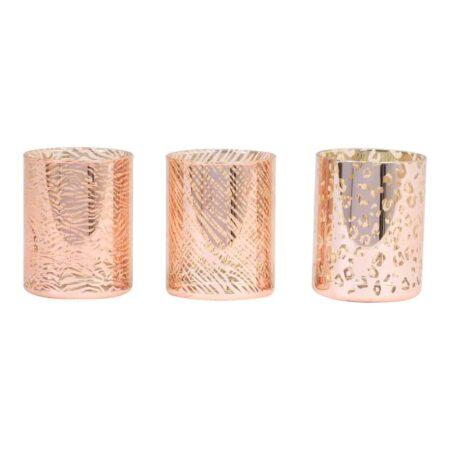 Teelichthalter PENZA, 3er-Set im Safari-Desgin mit Animal-Print in Ziegelrot und gold schimmernd