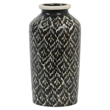Keramik Vase ELBAS, Dekoration mit schwarz+weiss Muster von Light & Living
