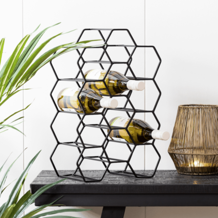 Weinregal SALBRIS matt schwarz, modernes Flaschenregal für 12 Weinflaschen 30x18x46 cm