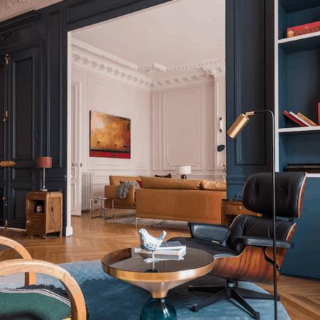 Beistelltisch L'atelier blau/gold, Tisch komplett aus Sicherheitsglas von Van Roon Living - Luxus Interior