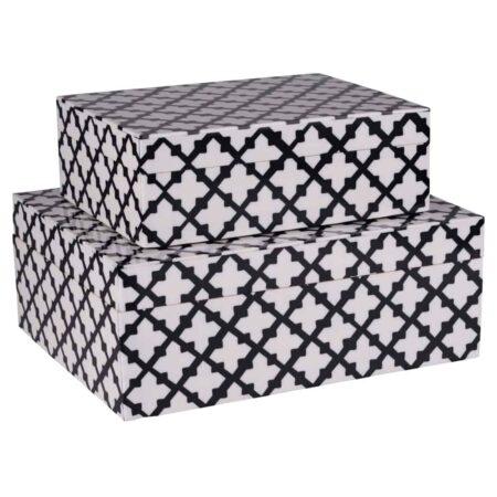 2er Deko Box CANVAS von GIFTCOMPANY in weiß und schwarz