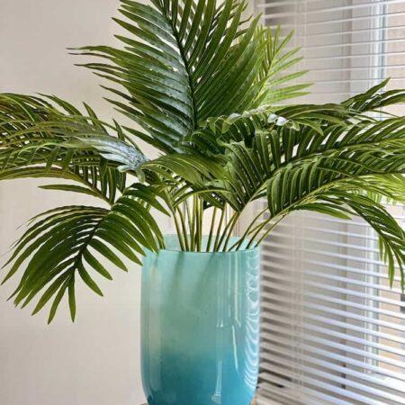Vase LINEN aqua Ø20,1×42,2cm, prunkvolle luxuriöse Glasvase/Windlicht von GiftCompany