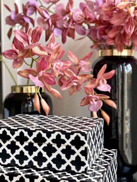 Deko Box CANVAS schwarz weiss, besondere Holzkisten 2er-Set von GiftCompany