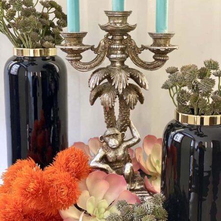Vase SAIGON schwarz + Kerzenleuchter GOTHAM, exklusive Vasen und Kerzenständer von GiftCompany