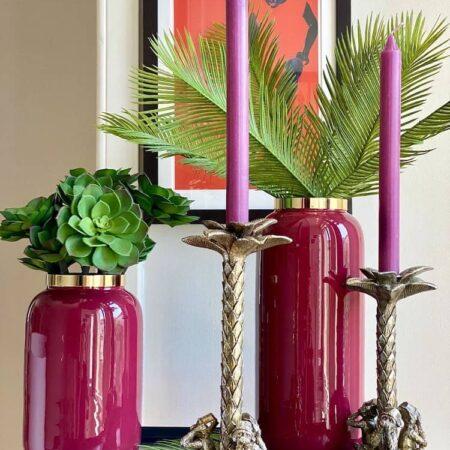 Vase SAIGON himbeerrot und Kerzenständer GOTHAM , exklusive Vasen und Kerzenständer von GiftCompany