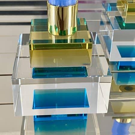 Kerzenständer DIOPTICS gelb, Kristallglas Kerzenhalter in gelb und blau, 8x10,5cm - von der Marke GiftCompany