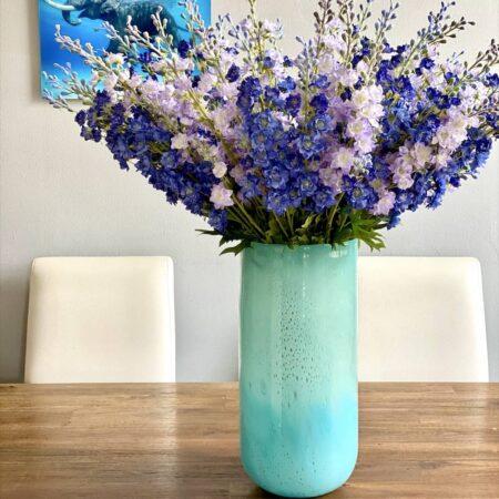 Vase LINEN aqua Ø20,1x42,4cm, prunkvolle luxuriöse Glasvase/Windlicht von GiftCompany