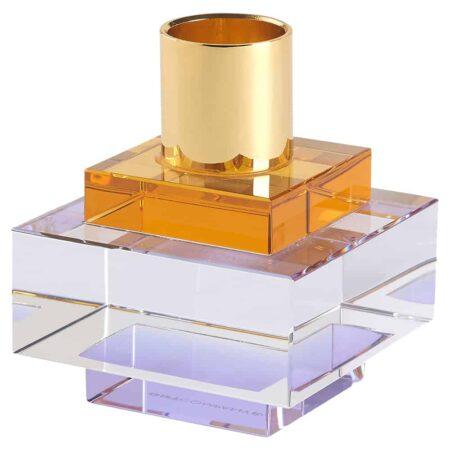 Kerzenständer DIOPTICS orange, Kristallglas Kerzenhalter von GiftCompany