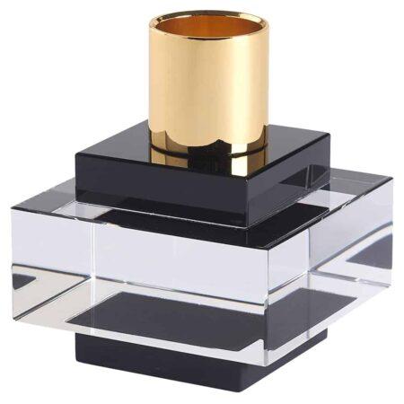 Kerzenständer DIOPTICS schwarz, Kristallglas Kerzenhalter von GiftCompany