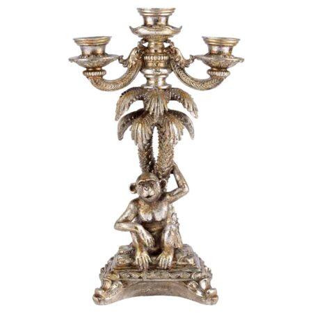 Kerzenständer GOTHAM Palme , 3-armiger Kerzenleuchter in antik Silber, als Palme mit Affe von GIFTCOMPANY