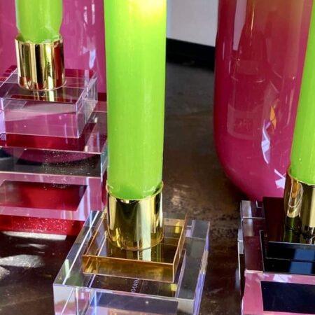 Kerzenständer DIOPTICS, exklusive Kerzenhalter aus Kristallglas von GiftCompany- pink, schwarz, gelb