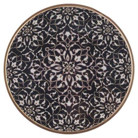 Tablett SAIGON von GIFTCOMPANY mit Blumenmuster in schwarz und weiß